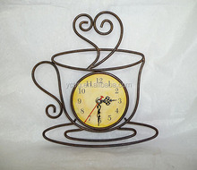 Coffee Tea Cup Style Metal Wire Wall Clock