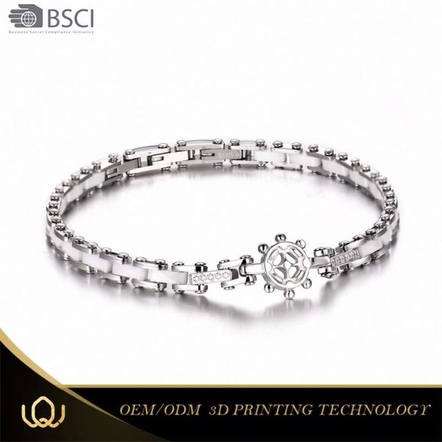 Longqueen 2017 Fashion Design 316l Stainless Steel Ceramics Thailand Titanium Germanium Magnetic Bracelet