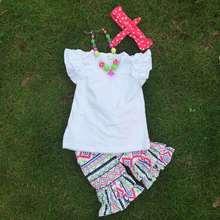 2-7years 2 pcs suit retail white top+short children clothing girls suit short set with accessories