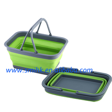 Collapsible Plastic Basket with Handle, Collapsible Houseware, for outdoors