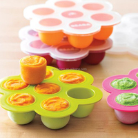 BPA Free Silicone Baby Food Freezer Tray with Clip-On Lid
