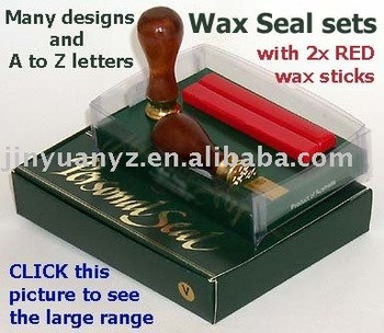 hot selling wax seal set with rosewood handle for wedding invtitations