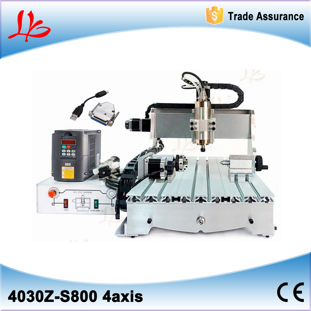 USB port 4030Z-S800W CNC engraving machine with 4th rotary axis
