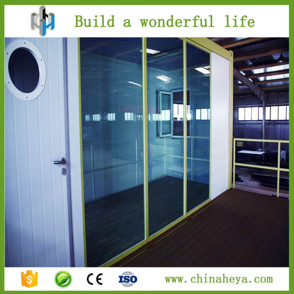 Pre made sliding glass doors panel tracks shipping container home for sale made by HEYA INT'L