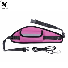 Hands-Free Nylon Dog Running Jogging Walking Leash Lead with treat pouch