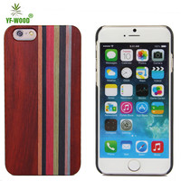 Color printed stripe wooden bamboo cell phone case for iphone 6 plus 5.5''