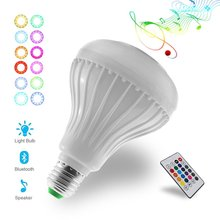Remote Control LED RGB Color Bulb Light E27 Bluetooth Control Smart Music Audio Speaker Lamps