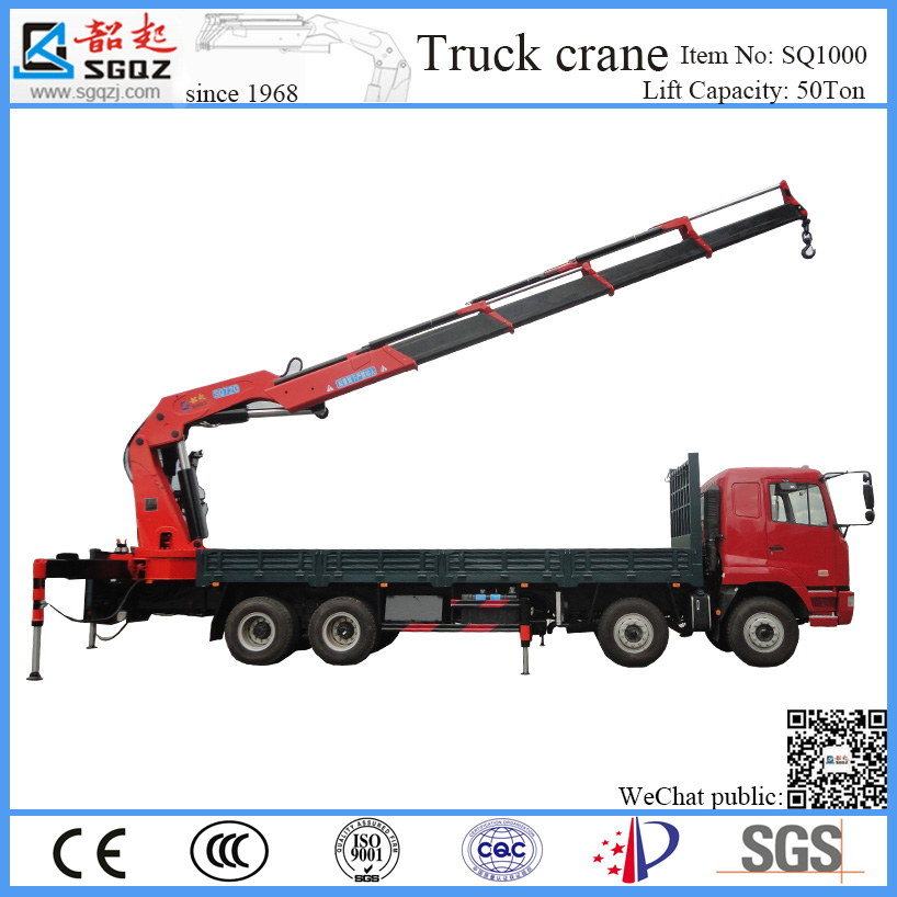Hot sell SQ truck crane 50 ton hydraulic truck crane SQ1000ZB6 knuckle boom crane