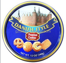 Food Grace Metal Tin white castle butter cookies in tins,danish butter cookies from denmark