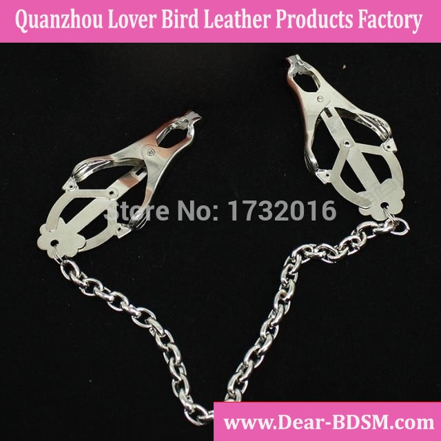 Silver Color Clover Nipple Clamps With Chain Breast Clip Sex Toys Funny Gifts Adult Products