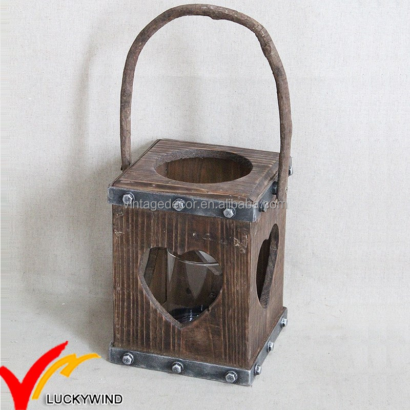 Luckywind vintage wood candle lantern with star shape window