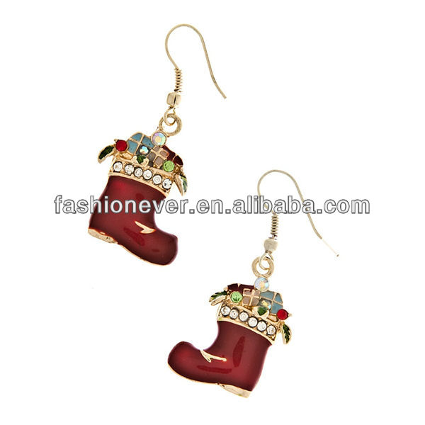 Christmas Jewelry Red Socks Present Crystal Rhinestone Dangle Earrings