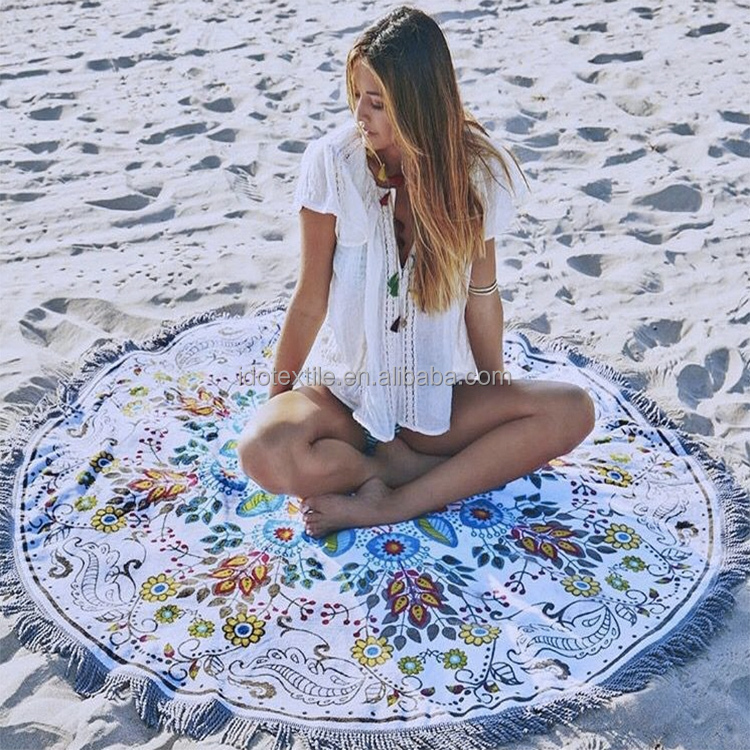 Made in Turkey Round Beach towel with tassels from Factory, Australian the beach people roundie