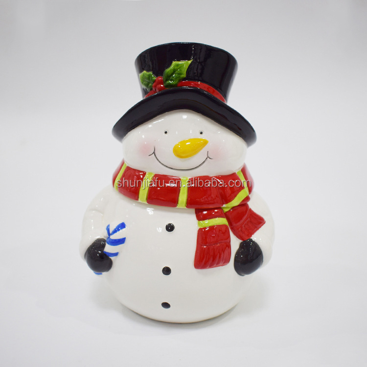 Ceramic Food Storage Canister with Lid Holiday Snowman Candy Jar