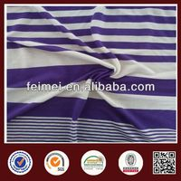 New Pattern Summer Purple White Y/D Stretch Single Jersey Stripe Knit Fabric In Stock