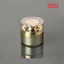 wholesale unique 30g round gold press Refillable cosmetic jars,luxury 1 oz empty acrylic cream container ,plastic Cosmetic Jar 3