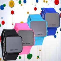 mirror LED flashing watch custom logo printed silicone LED wrist watch