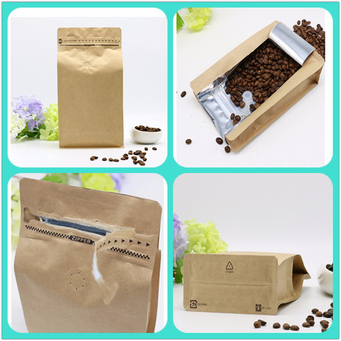 Factory sale custom design zipper pouch kraft paper flat bottom stand up pouch