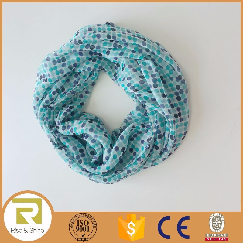 Wholesale 100% Polyester dots Printed Infinity shawl scarf