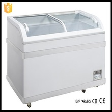 Commercial Freezer Curved Glass Door Chest Freezer