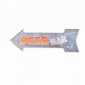 BEER BAR advertising embossed metal arrow sign