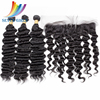Natural Black Super Wave Virgin Peruvian Hair Frontal Lace Closure With Bundles Dropshipping Hair Extension