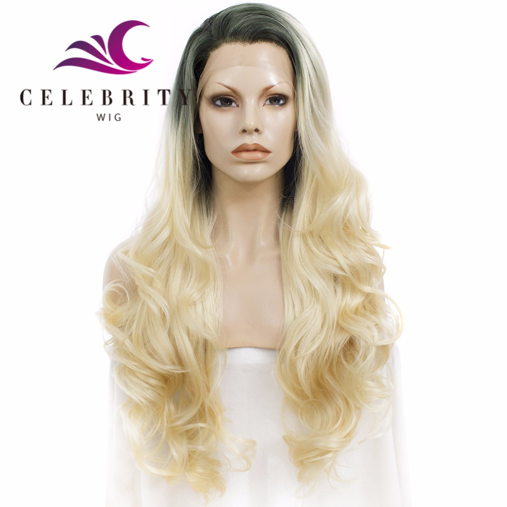 high quality popualr style synthetic hair wigs long wavy blonde dark rooted with golden color wig
