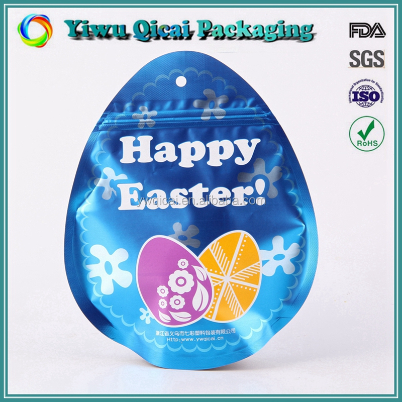 Manufacture Multicolor Custom Design Egg Shape Recycled Plastic Bag For Packing Food Snack Wholesale With Zipper