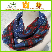 2014 new fashion dotted and plaid infinity scarf snood scarves for women/ladies