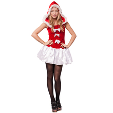 adults women girls miss Christmas new year costume for party with hooded