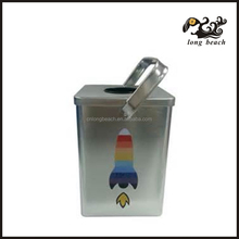 rectangle tin case with handle