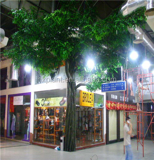 Look natural artificial banyan tree leaves and branches outdoor large ficus tree