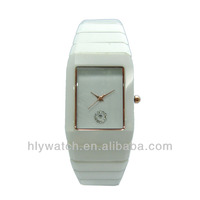 2014 latest design white ceramic waterproof watch fashion,rectangle face with date lady ceramic watch hot wholesale in Dubai