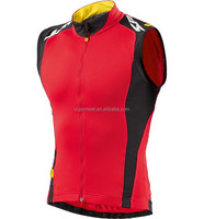 focus china cycling team jersey OEM factory new design sleeveless cycling clothing red color