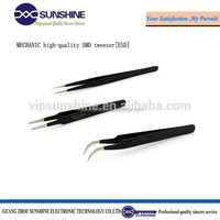 Mechanic ESD stainless steel tweezers with pointed curved round tip