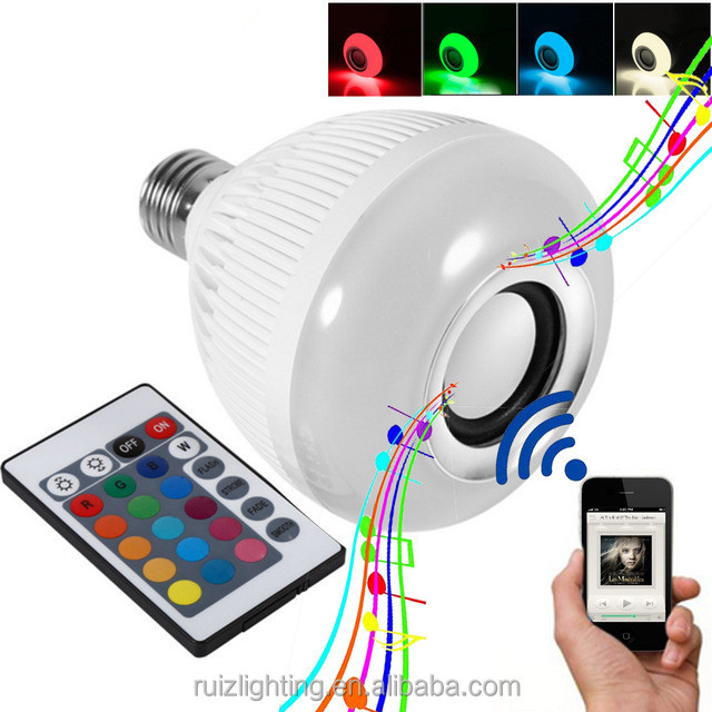 Smart RGB Wireless Bluetooth Speaker Bulb Music Playing Dimmable 12W E27 LED Bulb Light Lamp with 24 Keys Remote Control