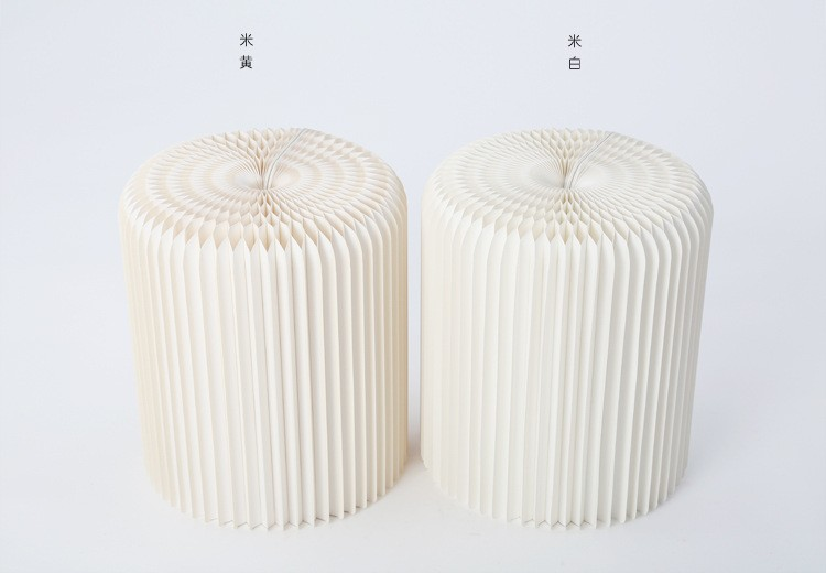 Creative paper furniture,Portable small stool,Pure manual round stool folding stool (cream-colored)