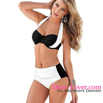 2016 Wholesale White Black Stylish Bicolor High Waist Women Bathing Suits