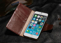 Folio Flip Corrected Grain Leather Case with Magnetic Closure for iPhone 6 4.7 inch (Retro Brown)