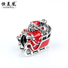 Alloy beads Christmas Cute Snowman In Sled Charm Crystal Rhinestone bead