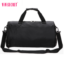 New hot design nylon travel duffel bag cylinder shape sport bag promotional black men gym bag with custom logo