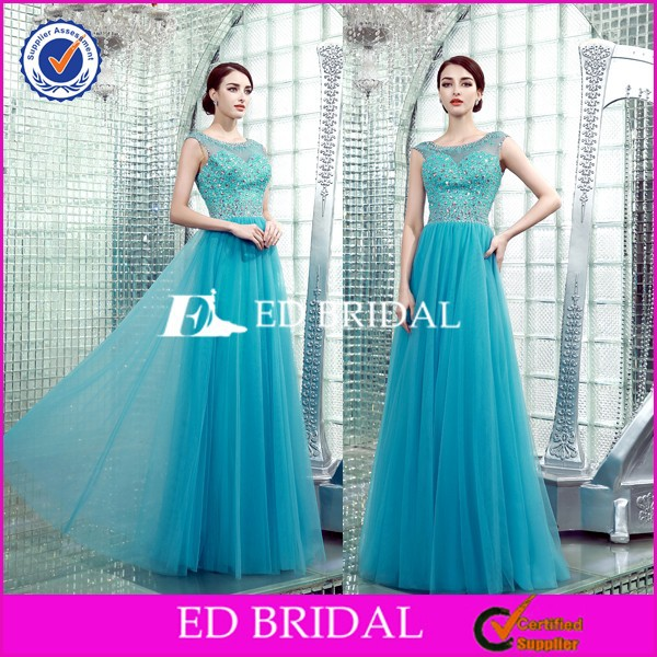 BN102 Real Picture See Through Beading Tulle Evening Dress Online Shopping 2015