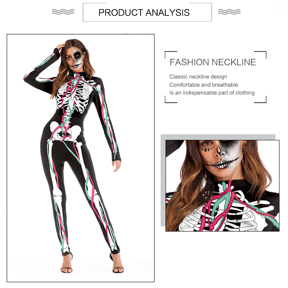 Skeleton Skull Printed Cosplay Costume Party Costume Women's Christmas Halloween Holiday Halloween Costumes  black