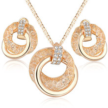 Bridal fashion jewelry american diamond necklace set,Ladies earring set, Mesh crystal dubai gold plated jewelry set