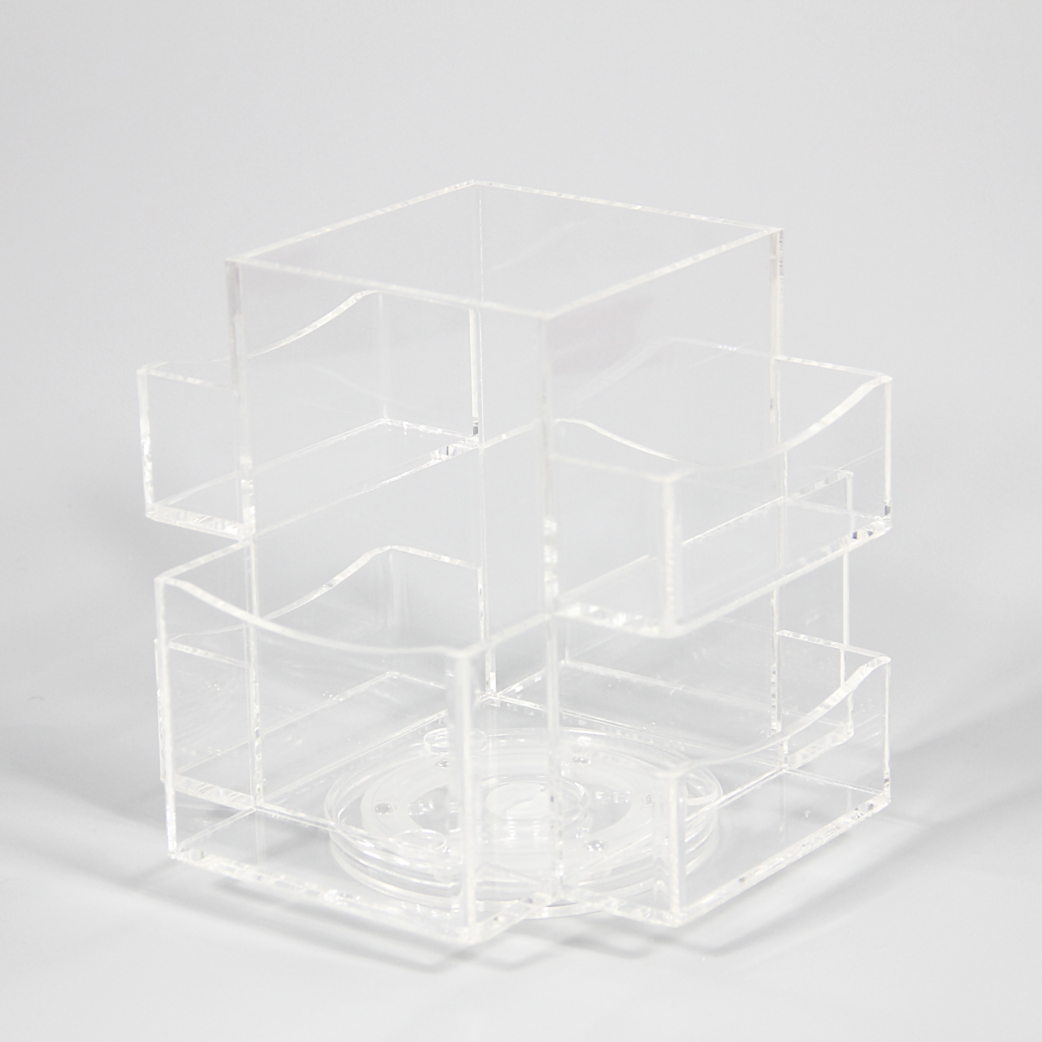 Multi-function Plexiglass Acrylic Plastic Spinning Bathroom Desk Accessories Organizer Set