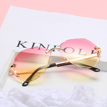 New Arrival Beautiful Rimless Women Sunglasses 2019 Metal Oversized Vintage Sun Glasses