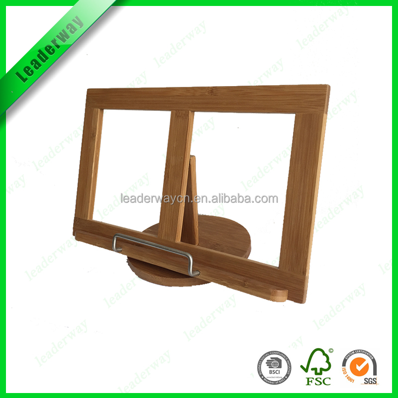 Adjustable folding wooden book support for display