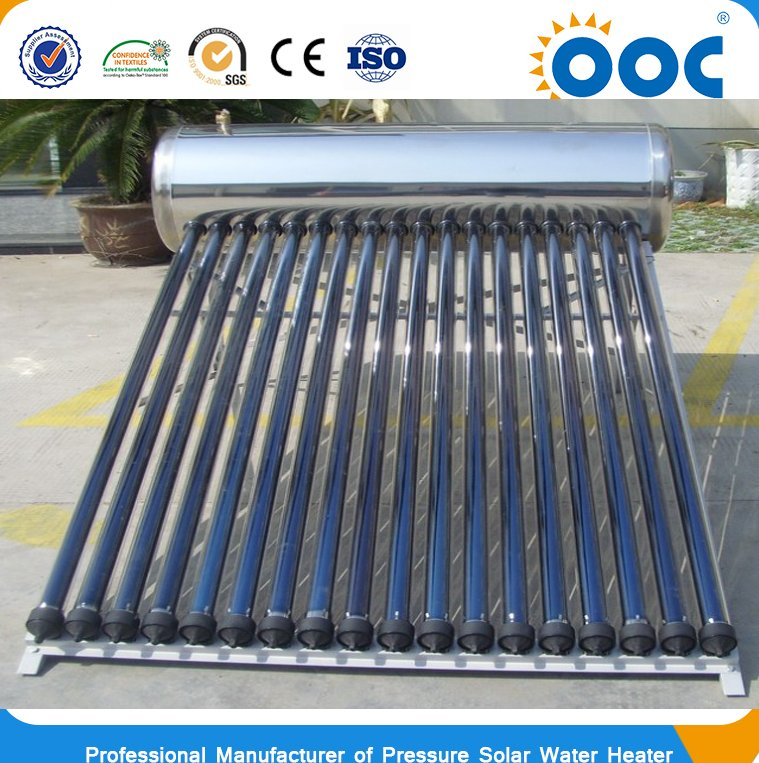 Compact high pressurized tri-element vacuum tube heat pipe solar water heater