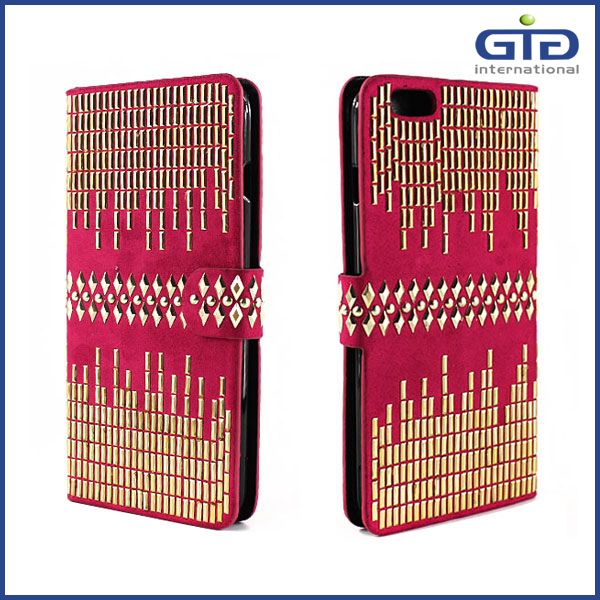 GGIT PU Leather Flip Cover Case For iPhone 6 Plus With Diamond