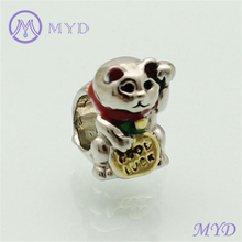 Enamel Luky Hello Kitty Charm Animal Cat Bead for Silver Plated